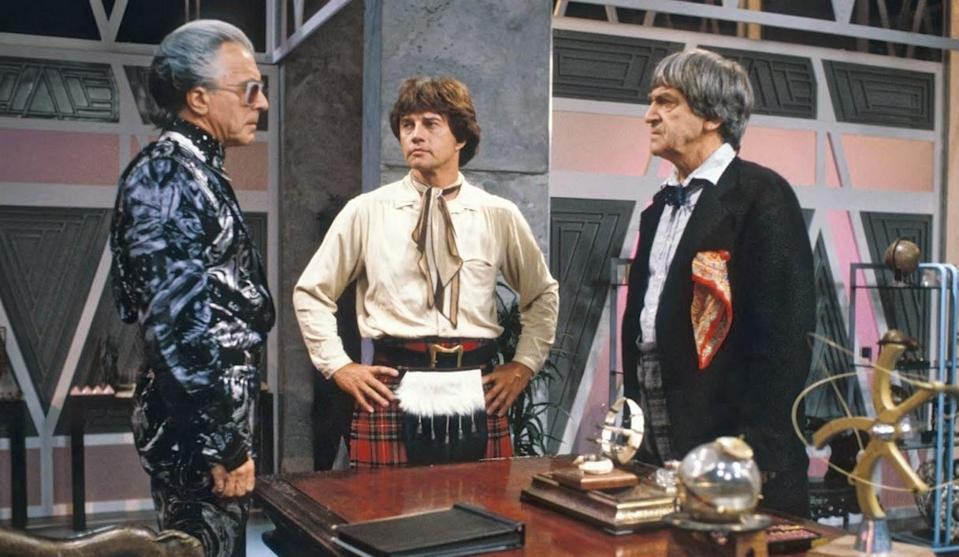 """Frazer Hines and Patrick Troughton looking decidedly older in the 1985 Doctor Who story """"The Two Doctors"""" gave rise to the Season 6B theory."""