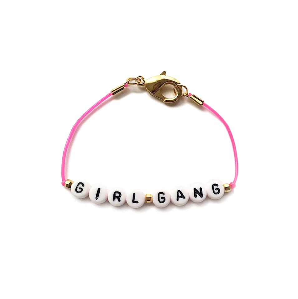 """<p>Give your favorite gal pals (and yourself) something they'll cherish this Galentine's Day—matching friendship bracelets to showcase your special bond. With a choice of colored cords, you can either purchase matching or multi-colored bracelets to suit every member of <em>your</em> closest group of girlfriends.</p> <p><strong>To buy:</strong> $25; <a href=""""https://www.shopspring.com/products/53128787"""" target=""""_blank"""">shopspring.com</a>.</p>"""