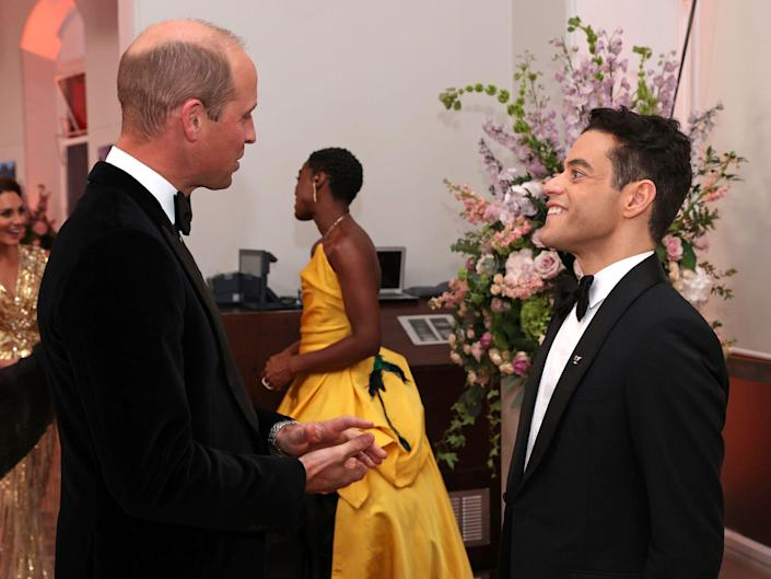 Prince William speaking with Rami Malek at the UK premiere of