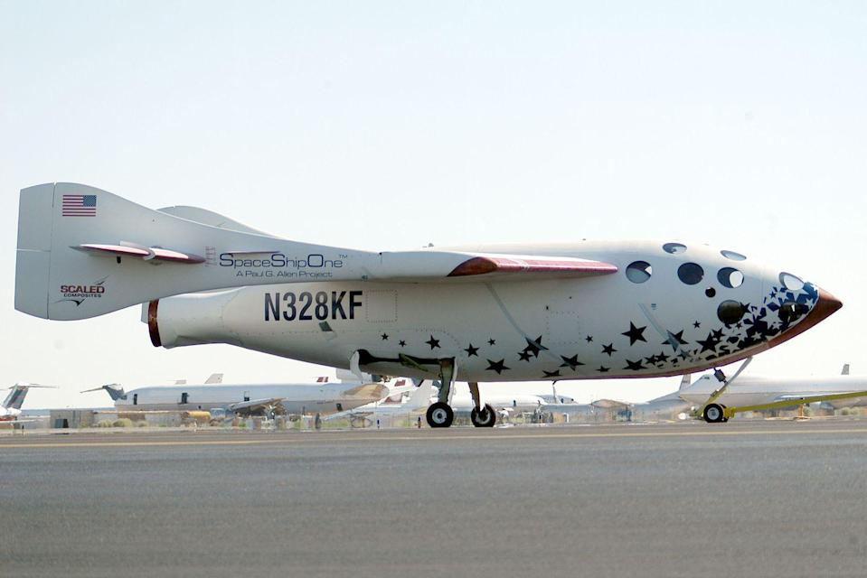 """<p>Destined to become the first private space plane, SpaceShipOne made its initial flights in 2003—first in a glide and then with rocket power. The following year, the craft <a href=""""https://airandspace.si.edu/collection-objects/spaceshipone/nasm_A20050459000"""" rel=""""nofollow noopener"""" target=""""_blank"""" data-ylk=""""slk:earned the Ansari X Prize"""" class=""""link rapid-noclick-resp"""">earned the Ansari X Prize</a> for its brief sojourns above the atmosphere and into the record books. </p>"""