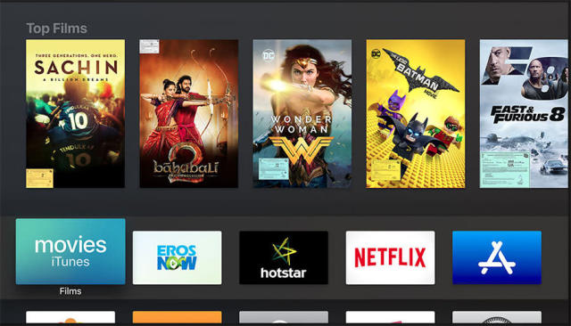 The Apple TV's interface is clean and sharp in 4K.