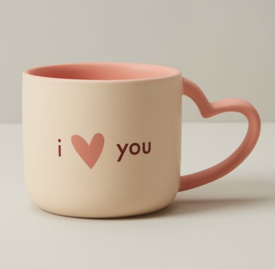 I Love You Mug with Heart Shaped Handle - Indigo, $15