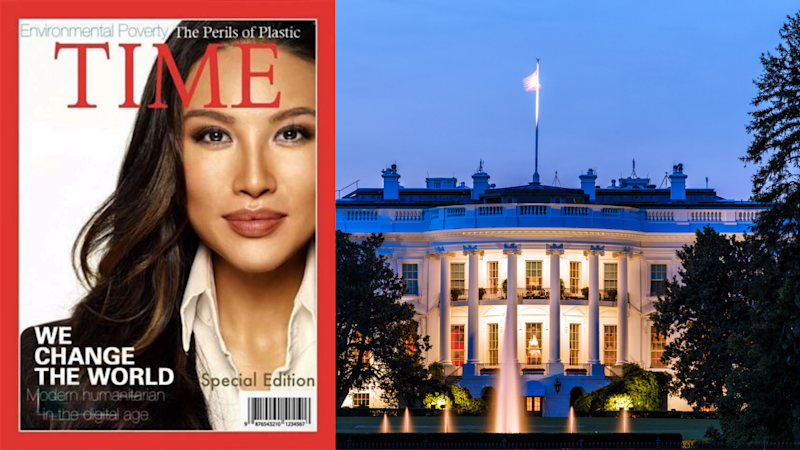 Pictured: Mina Chang on fake Time magazine cover, White House. Images: Getty, NBC