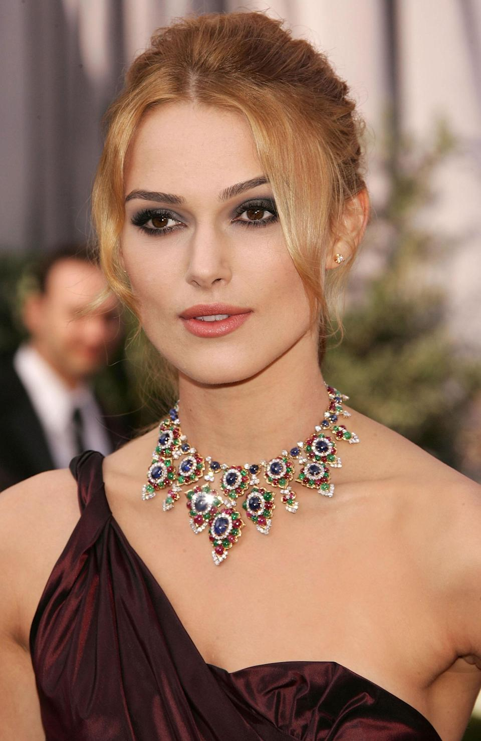 Great vintage always has a story, and the '60s-era Bulgari necklace that Keira Knightley chose for her first trip to the Oscars came with a royal pedigree. Owned initially by Princess Soraya of Iran, the intricate 18-carat yellow-gold choker detailed with sapphires, emeralds, and rubies is among the most striking to ever grace the ceremony.