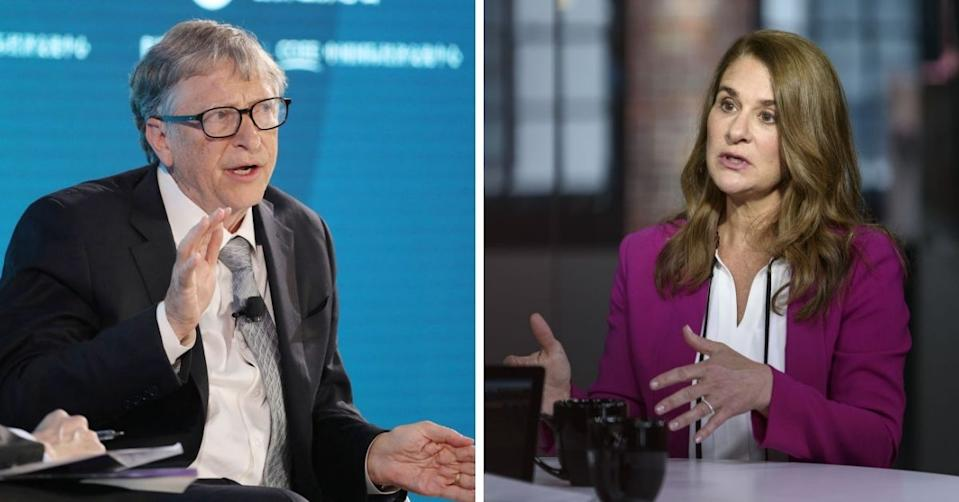 Split image of Bill and Melinda Gates, both talking.