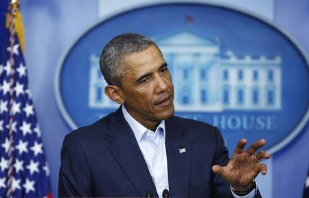 U.S. President Obama speaks about developments in Iraq and civil unrest in Missouri, from the White House in Washington