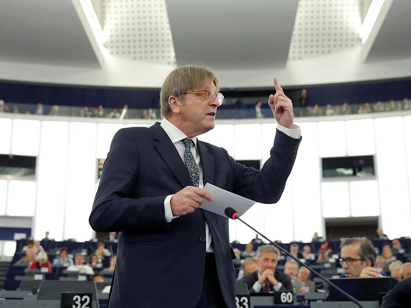 European Union's chief Brexit negotiator Guy Verhofstadt, President of the Group of the Alliance of Liberals and Democrats for Europe (ALDE), addresses the European Parliament during a debate on Brexit priorities and the upcomming talks on the UK's withdrawal from the EU: Reuters
