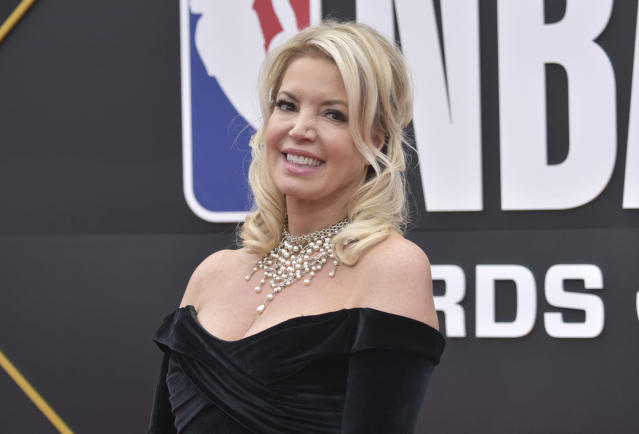Jeanie Buss, president of the Los Angeles Lakers, arrives at the NBA Awards on Monday, June 24, 2019, at the Barker Hangar in Santa Monica, Calif. (Photo by Richard Shotwell/Invision/AP)