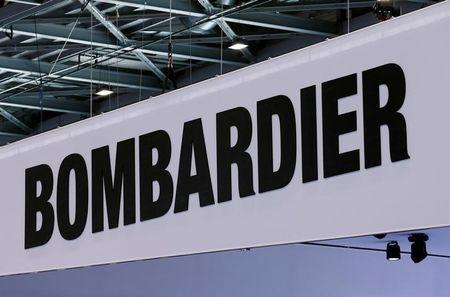 A Bombardier logo is pictured on the company booth during the European Business Aviation Convention & Exhibition (EBACE) at Cointrin airport in Geneva