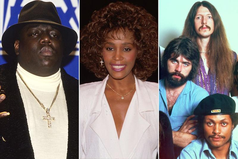 Notorious BIG, Whitney Houston, Doobie Brothers | Larry Busacca/WireImage; Time Life Pictures/DMI/The LIFE Picture Collection via Getty; Michael Ochs Archives/Getty