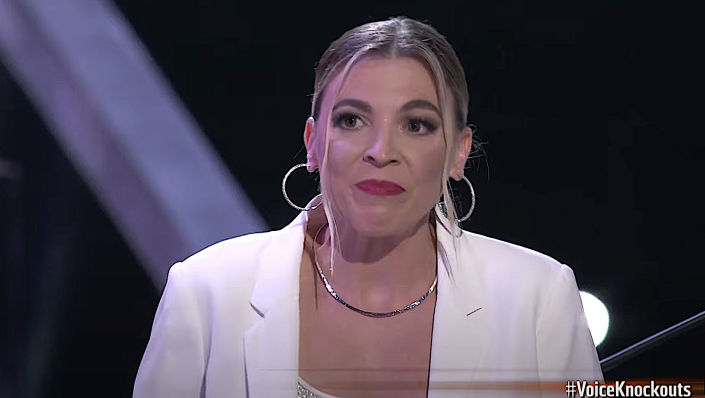 Marisa Corvo reacts to her 'Voice' Knockout Rounds defeat. (Photo: NBC)