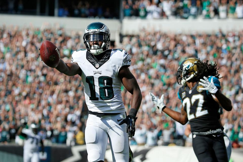 Philadelphia Eagles' Jeremy Maclin reacts as he scores a touchdown during the second half of an NFL football game against the Jacksonville Jaguars, Sunday, Sept. 7, 2014, in Philadelphia. (AP Photo/Chris Szagola)