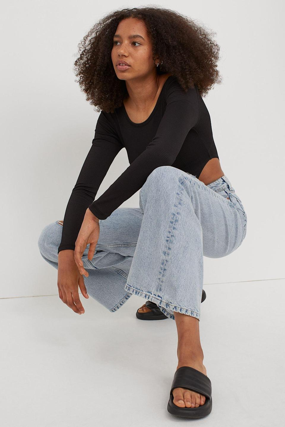 <p>Whether worn with a bodysuit, a crisp white blouse or light v-neck sweater, these <span>Wide Jeans</span> ($35) will look effortless.</p>