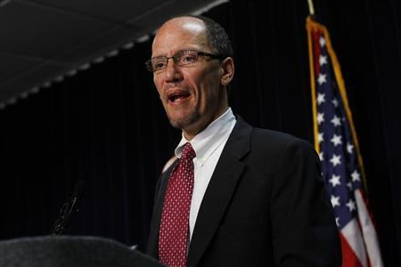 Assistant Attorney General for Civil Rights Division of the Department of Justice Thomas Perez speaks during a news conference in Phoenix