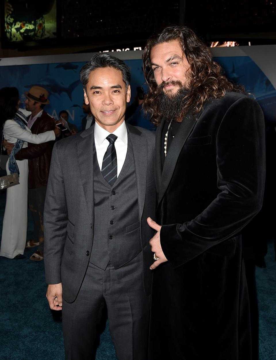 "LOS ANGELES, CA - DECEMBER 12:  Walter Hamada (L) and Jason Momoa arribe at the premiere of Warner Bros. Pictures' ""Aquaman"" at the Chinese Theatre on December 12, 2018 in Los Angeles, California.  (Photo by Kevin Winter/Getty Images)"