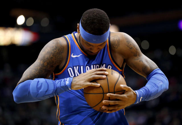 "One year after a marriage with the Rockets fell through, <a class=""link rapid-noclick-resp"" href=""/nba/players/3706/"" data-ylk=""slk:Carmelo Anthony"">Carmelo Anthony</a> could finally be on his way to Houston. (AP)"