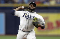 Tampa Bay Rays' Diego Castillo pitches to a Cleveland Indians batter during the first inning of a baseball game Saturday, Aug. 31, 2019, in St. Petersburg, Fla. (AP Photo/Chris O'Meara)