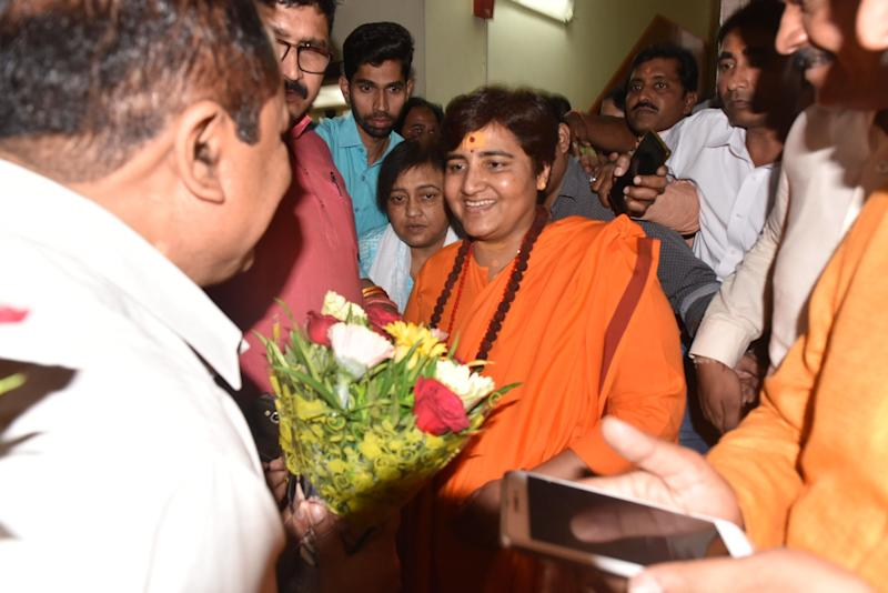 Sadhvi Pragya Singh Thakur at the state BJP office in Bhopal in 17 April 2019. (Photo: Hindustan Times via Getty Images)