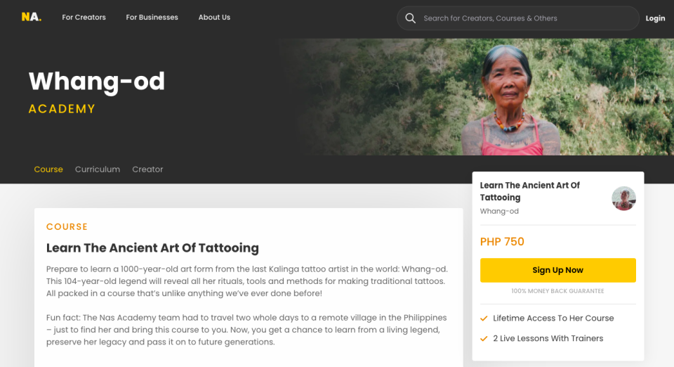 The sign-up page for Whang Od Academy, which has since been taken down by Nas Academy (nasacademy.com)