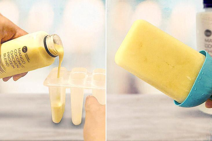 Why not try some high protein popsicles, made with the Mango Coconut smoothie?