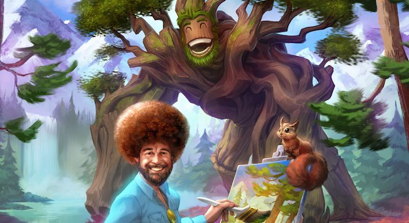 Sylvanus will have Bob Ross riding around on his back in the Smite: Happy Trees update (Hi-Rez Studios)