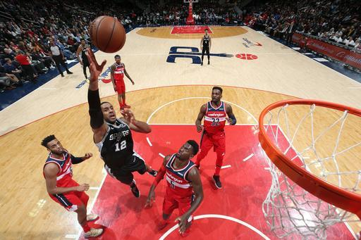 WASHINGTON, DC - APRIL 5: LaMarcus Aldridge #12 of the San Antonio Spurs shoots the ball against the Washington Wizards on April 5, 2019 at Capital One Arena in Washington, DC. (Photo by Stephen Gosling/NBAE via Getty Images)