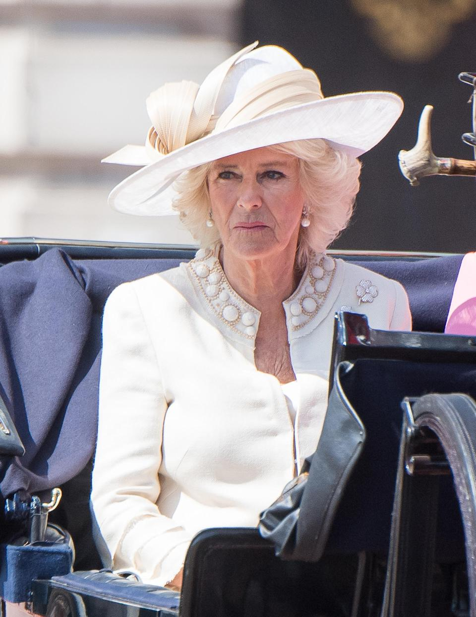 For the 2017 event, Camilla Parker-Bowles wore a cream dress coat by Anna Valentine. (Getty Images)