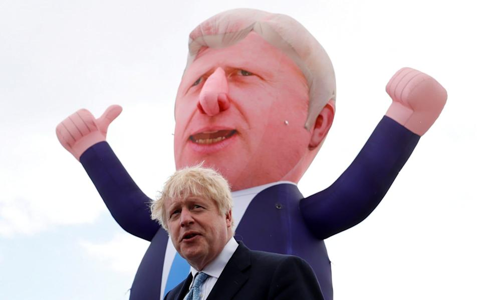 Boris Johnson with an inflatable version of himself in Hartlepool, a constituency now held by the Conservatives for the first time since it was formed in 1974 - LEE SMITH/Reuters