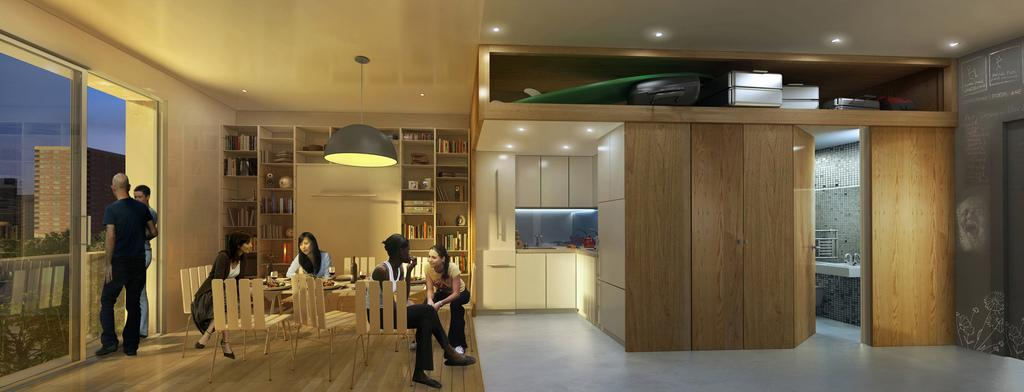 New York micro-apartment design winner announced dinner party rendering