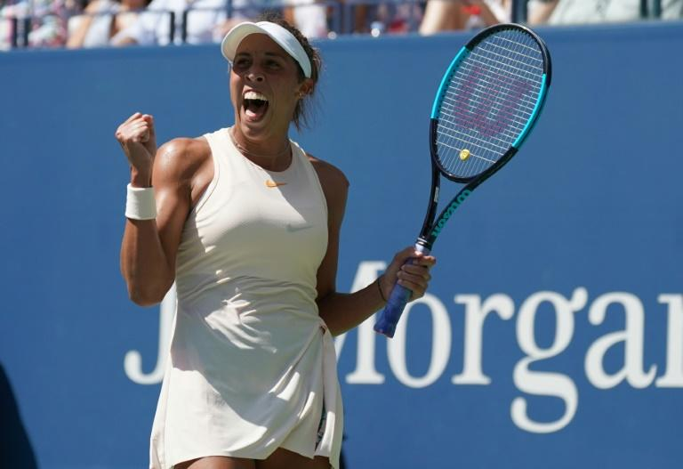 Back in the last-eight: Madison Keys reacts after winning against Dominika Cibulkova
