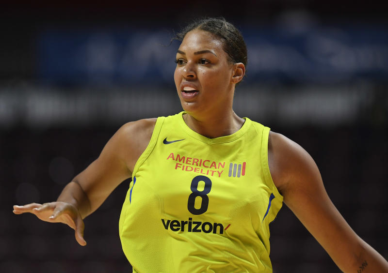 Dallas Wings' Liz Cambage during a preseason WNBA basketball game, Tuesday, May 8, 2018, in Uncasville, Conn. (AP Photo/Jessica Hill)
