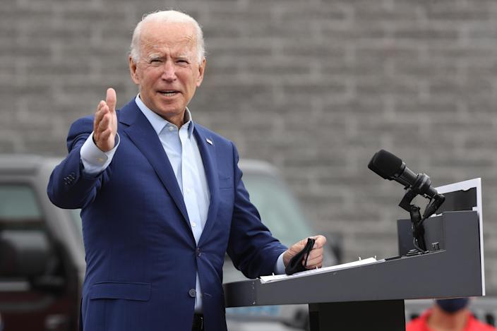 Democratic presidential nominee Joe Biden delivers remarks outside a United Auto Workers office in Warren, Mich., on Wednesday. (Chip Somodevilla/Getty Images)