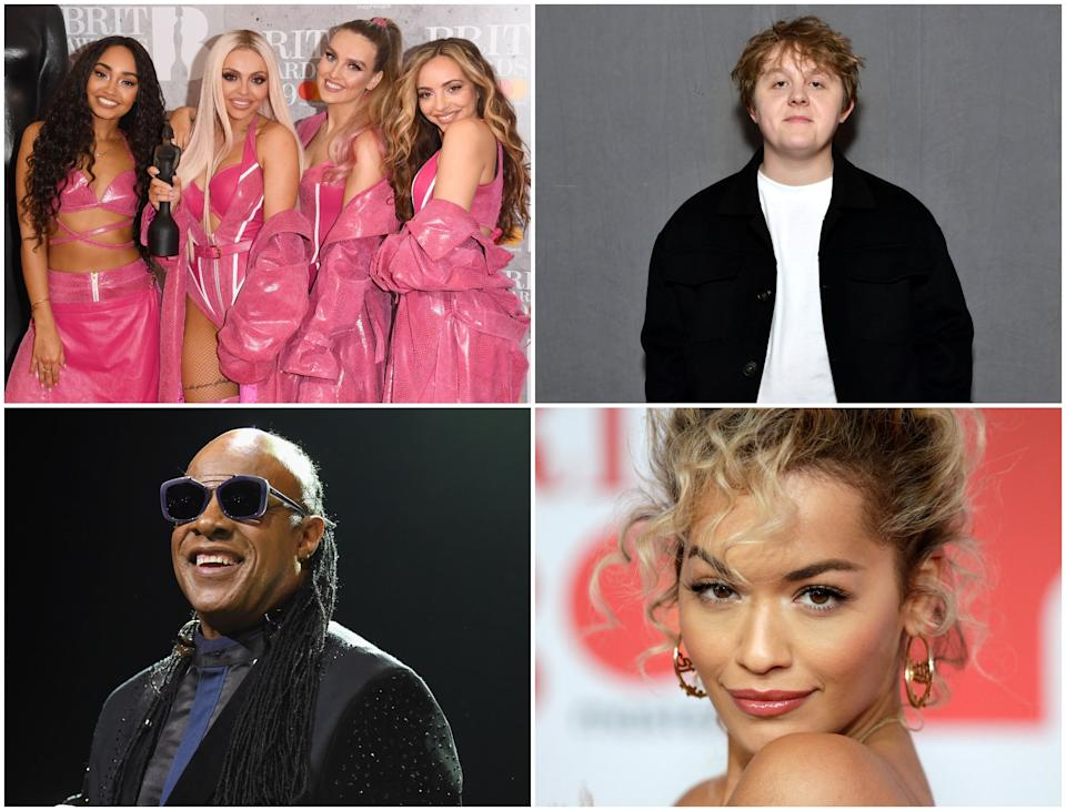 Top left going clockwise: Little Mix, Lewis Capaldi, Rita Ora and Stevie Wonder are among the artists to sign a letter against racism: Getty