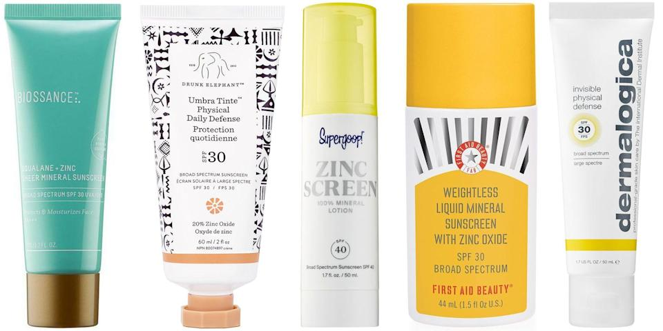 "<p class=""body-dropcap"">Mineral sunscreen—that is, SPF that relies on zinc or titanium dioxide—is skyrocketing in popularity. Not only are the formulas <a href=""https://www.harpersbazaar.com/beauty/skin-care/g31456748/best-reef-safe-sunscreen/"" rel=""nofollow noopener"" target=""_blank"" data-ylk=""slk:reef-safe"" class=""link rapid-noclick-resp"">reef-safe</a>, but they also tend to be gentler on skin. ""Mineral sunscreens are sunscreens that use zinc oxide by itself, or in combination with titanium dioxide to block UV light,"" explains New York City-based dermatologist Joshua Zeichner. ""Many people think that zinc-only based sunscreens are more natural and feel more comfortable applying those types of sunscreens on their skin."" </p><h4 class=""body-h4"">Mineral Sunscreens Protect Against UV and Blue Light</h4><p>Zinc sunscreens may be a better choice from an overall skincare perspective as well. ""I will typically recommend a zinc-oxide-based or mineral blocker for sensitive skin, because they tend to be a little more gentle on the skin,"" says Zeichner. This type of sunscreen also helps protect against HEV, or high-energy visible light, a.k.a. blue light. ""Light within the blue visible spectrum has been shown to deeply penetrate the skin and promote premature aging, including sun spots and wrinkles,"" explains Dr. Zeichner. ""Mineral blockers like zinc oxide protect against some level of HEV light, while <a href=""https://www.harpersbazaar.com/beauty/skin-care/a28557592/safe-sunscreen/"" rel=""nofollow noopener"" target=""_blank"" data-ylk=""slk:chemical blockers"" class=""link rapid-noclick-resp"">chemical blockers</a> do not.""</p><h4 class=""body-h4"">But Does It Apply Clear on Darker Skin?</h4><p>In the past, the downside to mineral sunscreens has been their opaque, white consistency, which has made it harder to blend into skin (and therefore, making you less likely to use or reapply it). But science has finally caught up with user behavior. ""The newest generation of mineral sunscreens use micronized technology so that they fully rub into the skin, not leaving behind a white cast, or an ashy appearance on darker complexions,"" explains Zeichner. Read on for 13 easy-to-wear, easy-to-blend zinc sunscreens we recommend for spending time at the beach, the park, or just in front of your laptop.</p>"
