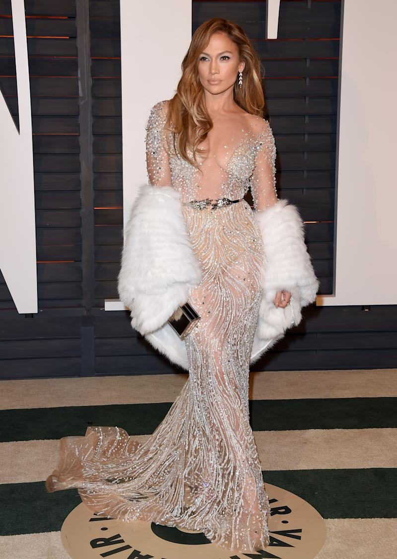 J. Lo's looks have gotten increasingly dramatic in just the past few years — 2000 Versace aside — and she takes it a step further for the 2015 Oscars. Jennifer Lopez in Zuhair Murad at the Vanity Fair Oscar Party in Beverly Hills, California, February 2015. Photo by Axelle/Bauer-Griffin/FilmMagic.