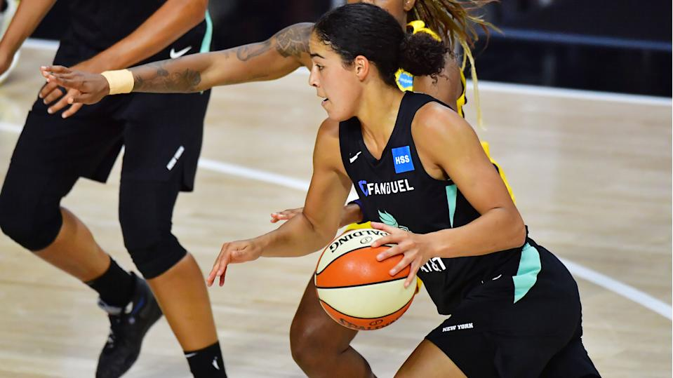 PALMETTO, FLORIDA - AUGUST 13: Kia Nurse #5 of the New York Liberty drives to the basket during the first half against the Indiana Fever at Feld Entertainment Center on August 13, 2020 in Palmetto, Florida. NOTE TO USER: User expressly acknowledges and agrees that, by downloading and or using this photograph, User is consenting to the terms and conditions of the Getty Images License Agreement. (Photo by Julio Aguilar/Getty Images)