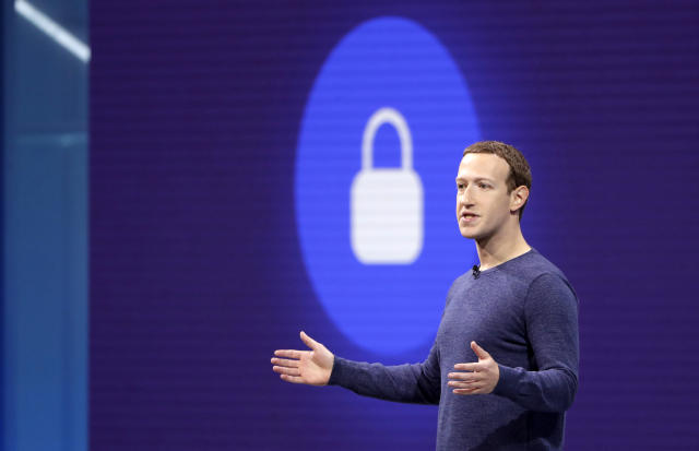 Facebook CEO Mark Zuckerberg makes the keynote speech at F8, theFacebook's developer conference, Tuesday, May 1, 2018, in San Jose, Calif. (AP Photo/Marcio Jose Sanchez)