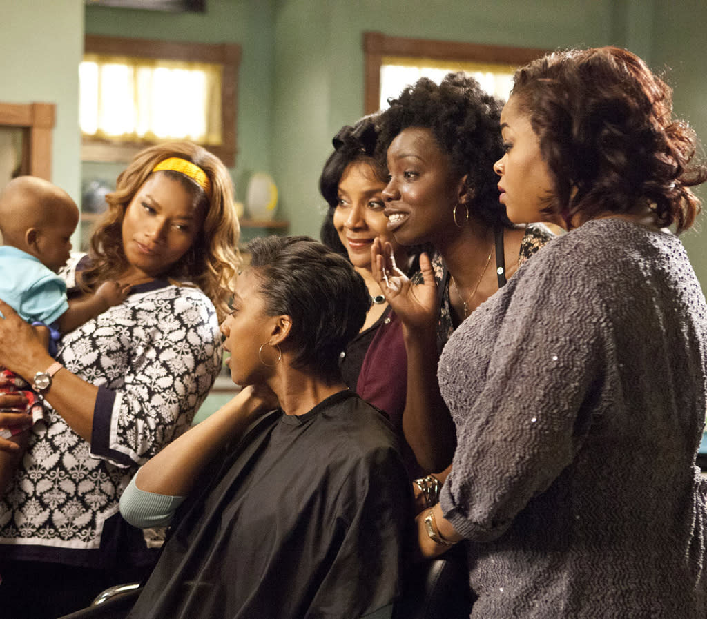"Queen Latifah (""M'Lynn""), Condola Rashad (""Shelby""), Phylicia Rashad (""Clariee""), Adepero Oduye (""Annelle"") and Jill Scott (""Truvy"") star in the all-new Lifetime Original Movie, ""Steel Magnolias."""