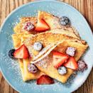"<p>You don't have to be a French chef to make a truly delicious crepe. This easy-to-follow recipe will have your turning out these thin pancakes in no time. Topped with lots of fresh fruit, your kids will have no problem eating these up in the morning.</p><p><em>Get the recipe at <a href=""https://www.delish.com/cooking/recipe-ideas/recipes/a52114/easy-basic-crepe-recipe/"" rel=""nofollow noopener"" target=""_blank"" data-ylk=""slk:Delish"" class=""link rapid-noclick-resp"">Delish</a>.</em></p>"