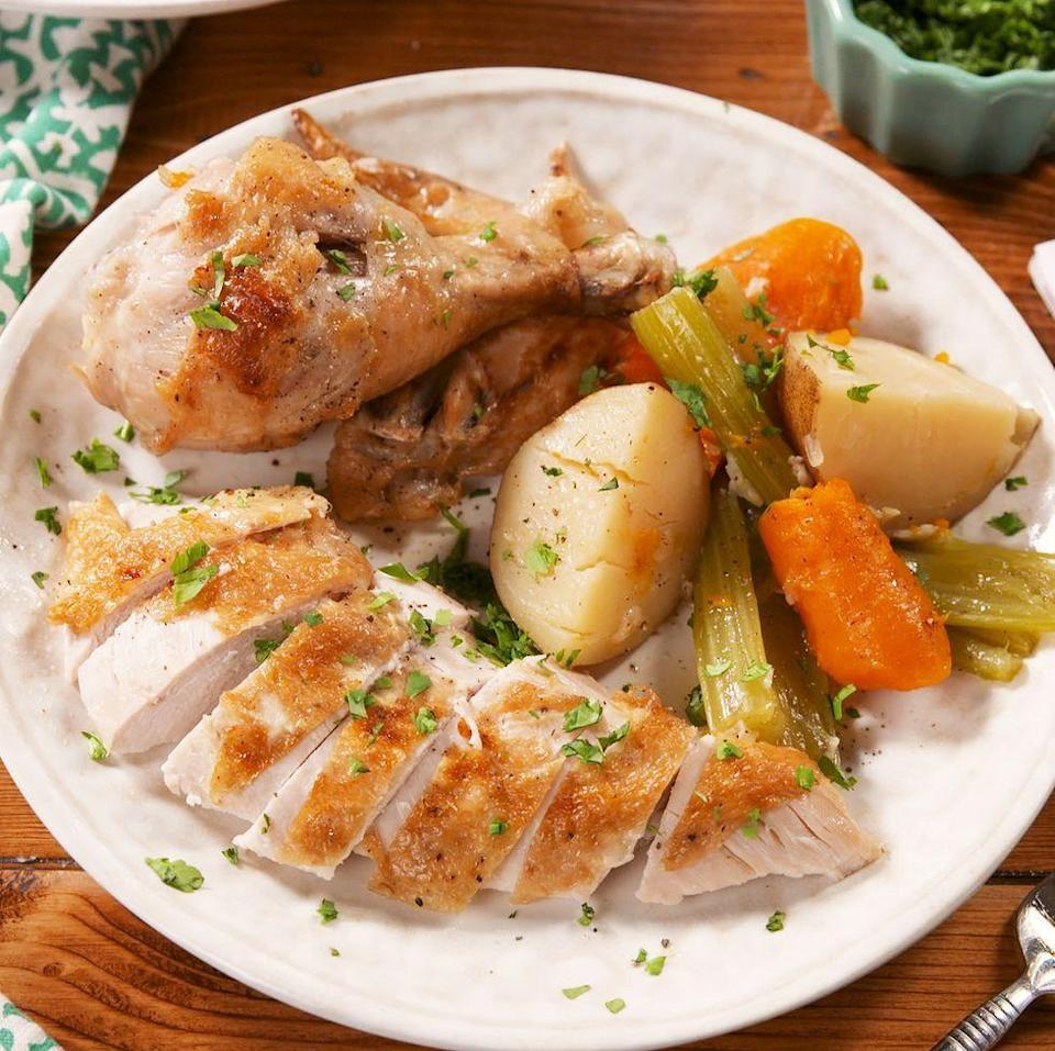 """<p>This <a href=""""https://www.delish.com/uk/chicken-recipes/"""" rel=""""nofollow noopener"""" target=""""_blank"""" data-ylk=""""slk:chicken"""" class=""""link rapid-noclick-resp"""">chicken</a> is so ridiculously juicy, you won't ever want to <a href=""""https://www.delish.com/uk/cooking/recipes/a28926109/classic-roast-chicken-recipe/"""" rel=""""nofollow noopener"""" target=""""_blank"""" data-ylk=""""slk:roast your chicken"""" class=""""link rapid-noclick-resp"""">roast your chicken</a> in the oven again. Feel free to mix and match veggies: sweet potato, bell peppers, or fennel would all be delicious substitutes! </p><p>Get the <a href=""""https://www.delish.com/uk/cooking/recipes/a30867785/instant-pot-chicken-pot-roast-recipe/"""" rel=""""nofollow noopener"""" target=""""_blank"""" data-ylk=""""slk:Instant Pot Chicken Pot Roast"""" class=""""link rapid-noclick-resp"""">Instant Pot Chicken Pot Roast</a> recipe.</p>"""