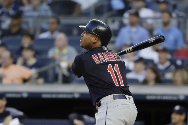 Cleveland Indians' Jose Ramirez watches his grand slam during the first inning of the team's baseball game against the New York Yankees on Thursday, Aug. 15, 2019, in New York. (AP Photo/Frank Franklin II)