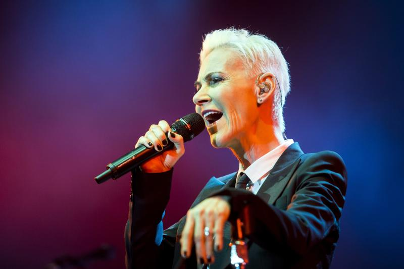 Marie Fredriksson, of the Swedish pop-rock band Roxette sings, during a show, at Papp Laszlo Budapest Sports Arena, in Budapest, Hungary, Tuesday, May 19, 2015. (Balazs Mohai/MTI, via AP)