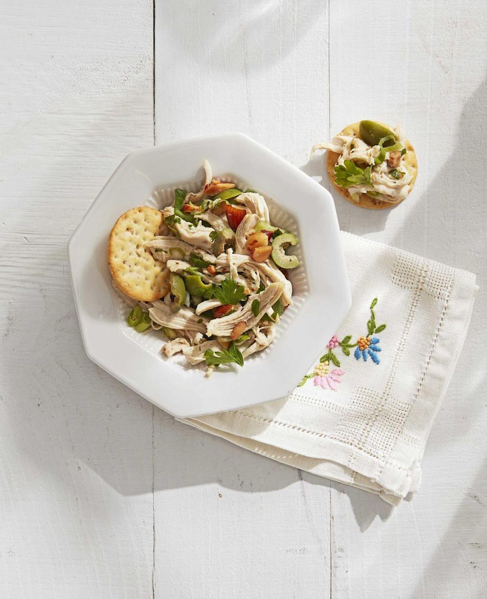 "<p>Tangy olives, red wine vinegar, and fresh parsley give this chicken salad a modern twist.</p><p><strong><a href=""https://www.countryliving.com/food-drinks/a30613805/mediterranean-chicken-salad-recipe/"" rel=""nofollow noopener"" target=""_blank"" data-ylk=""slk:Get the recipe."" class=""link rapid-noclick-resp"">Get the recipe.</a></strong></p>"