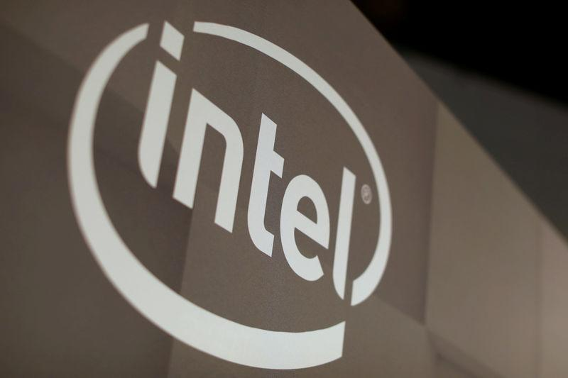 FILE PHOTO: Intel logo is shown at the E3 2017 Electronic Entertainment Expo in Los Angeles