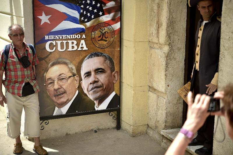 A poster in Havana shows Cuban and US Presidents Raul Castro and Barack Obama, who in December 2014 announced simultaneously their nations would normalize relations