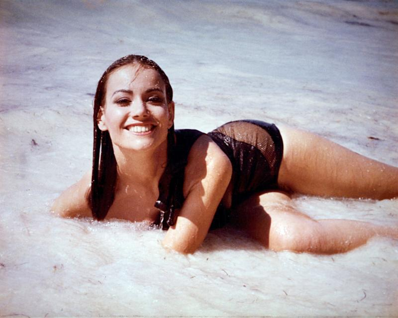 Claudine Auger at the beach