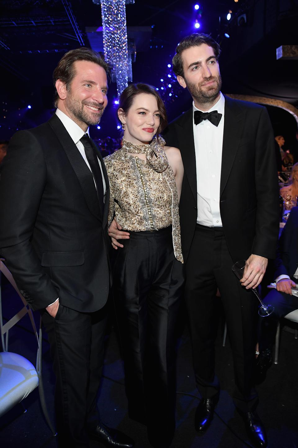 From left, Bradley Cooper, Emma Stone and Dave McCary pictured during the 25th Annual Screen ActorsGuild Awards in January 2019. [Photo: Getty]