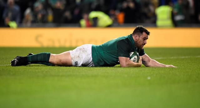 Rugby Union - Autumn Internationals - Ireland v Fiji - Aviva Stadium, Dublin, Republic of Ireland - November 18, 2017 Ireland's Cian Healy scores a try which is disallowed REUTERS/Clodagh Kilcoyne