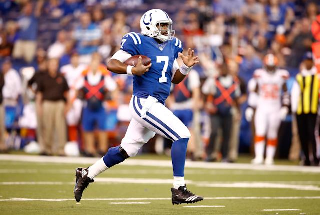 Jacoby Brisset runs with the ball during at Lucas Oil Stadium. (Photo by Andy Lyons/Getty Images)