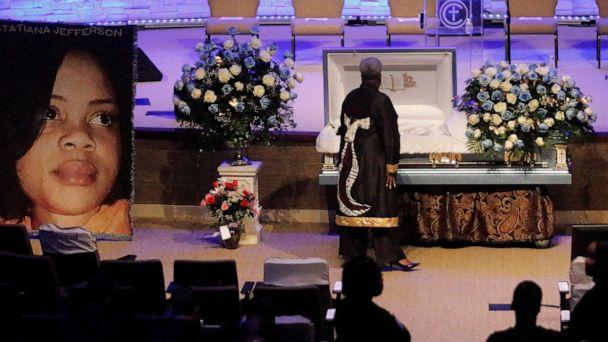 PHOTO: DALLAS, TX - OCTOBER 24: A mourner pays respects before the start of the funeral service for Atatiana Jefferson on October 24, 2019, at Concord Church in Dallas, Texas. (Photo by Stewart F. House/Getty Images) (Stewart F. House/Getty Images)